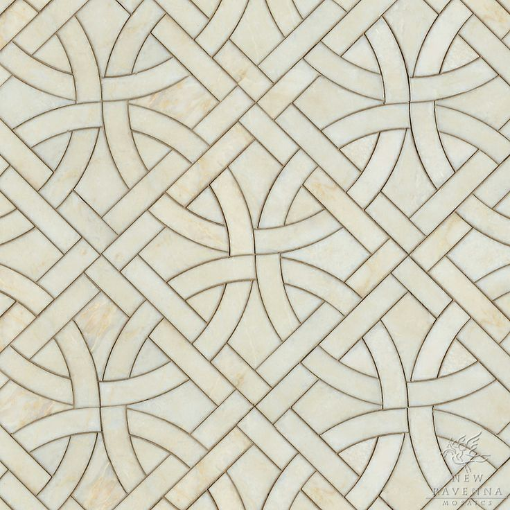 Gran Via, a natural stone waterjet mosaic shown in Cloud Nine polished, is part of the Miraflores Collection by Paul Schatz for New Ravenna Mosaics. As seen in Elle Decor. CB1313PS
