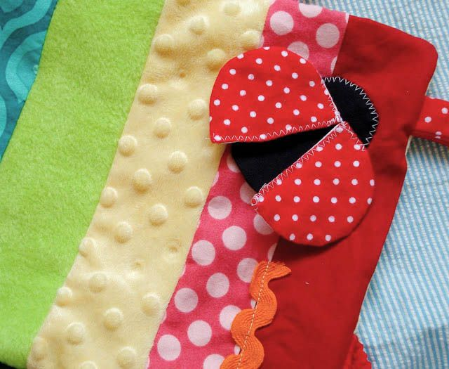 Rainbow and Ladybug Taggie Blanket // Bright Apple Blossom // easy sewing projects, fun crafts, baby gifts,