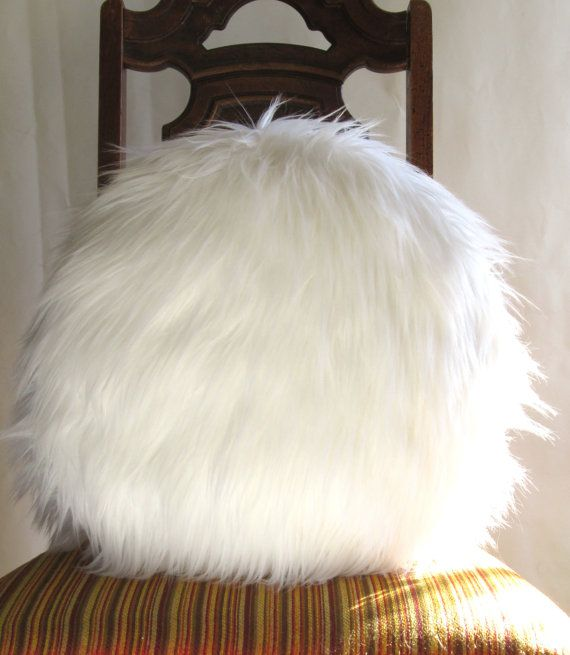Round Fur pillow 18 inches decorative white fur by VFIllustration