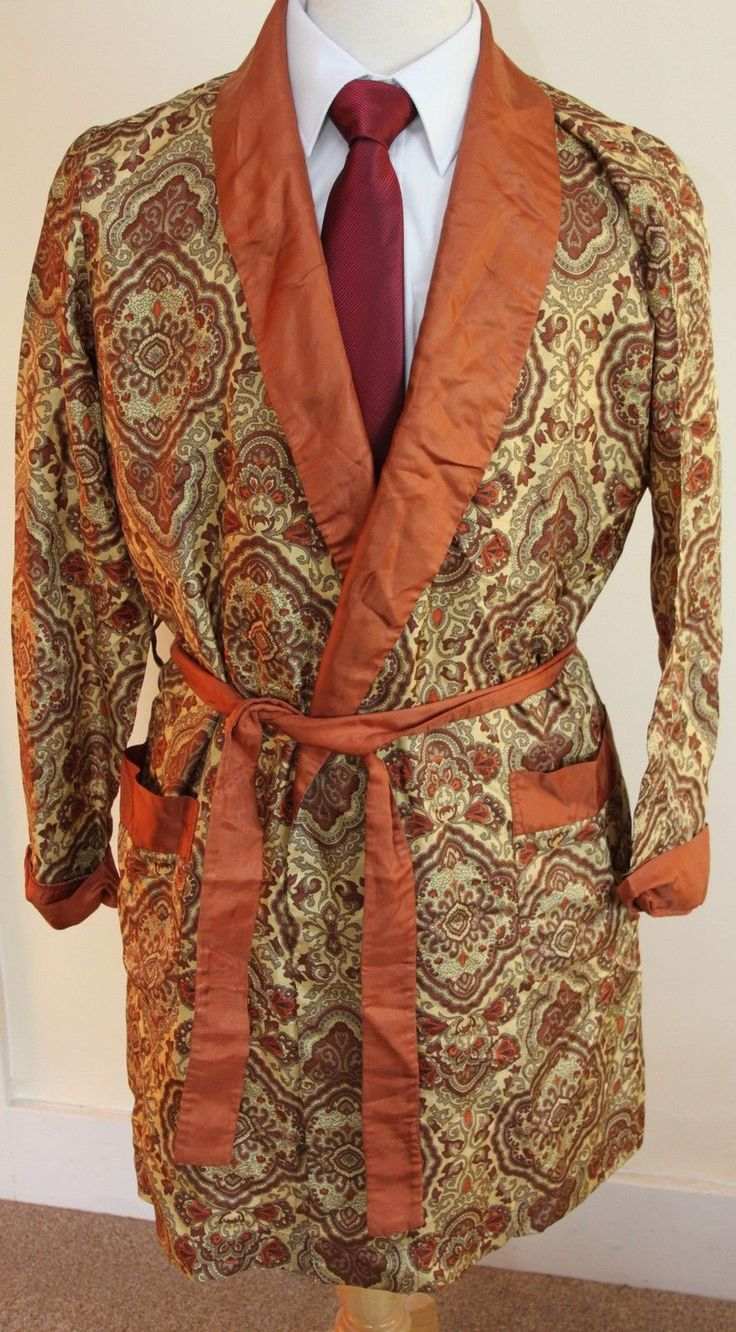 vintage MENS BRONZE PAISELY PATTERN SMOKING JACKET ROBE SZ S BY ST MICHAEL in Clothes, Shoes & Accessories, Vintage Clothing & Accessories, Men's Vintage Clothing | eBay