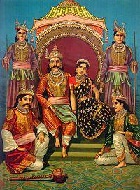 Mahabharata - Wikipedia, the free encyclopedia: Draupadi with her five husbands - the Pandavas. The central figure is Yudhishthira; the two on the bottom are Bhima and Arjuna. Nakula and Sahadeva, the twins, are standing. Painting by Raja Ravi Varma, c. 1900.
