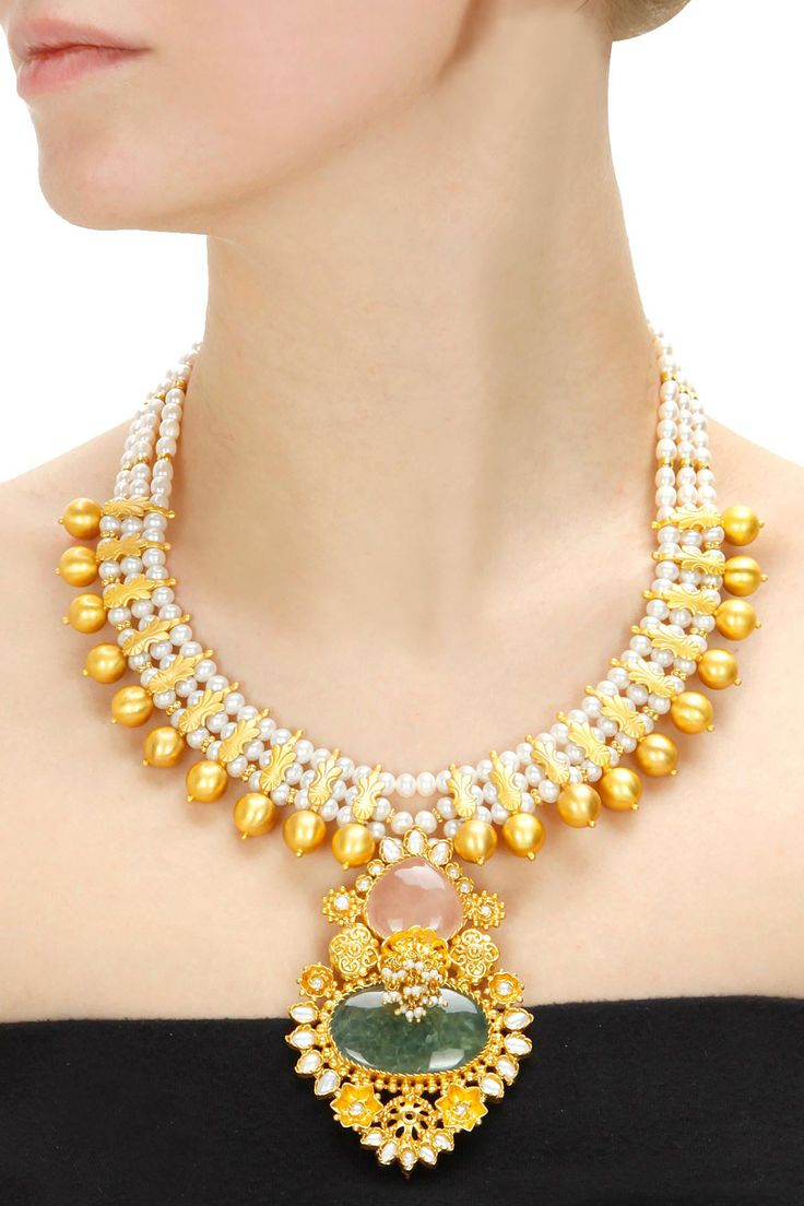 Gold plated rose pearl necklace available only at Pernia's Pop-Up Shop
