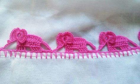 Crochet elephants border
