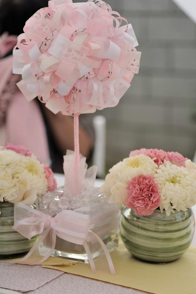 Ribbon topiary for baby shower