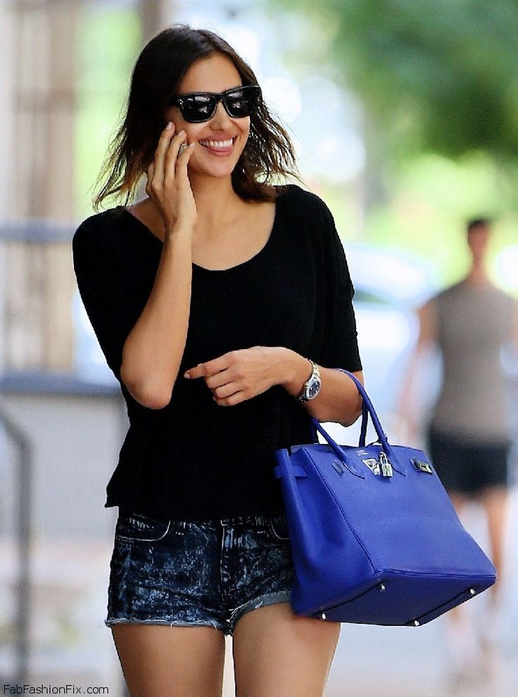 Irina Shayk summer street style with denim shorts and ...