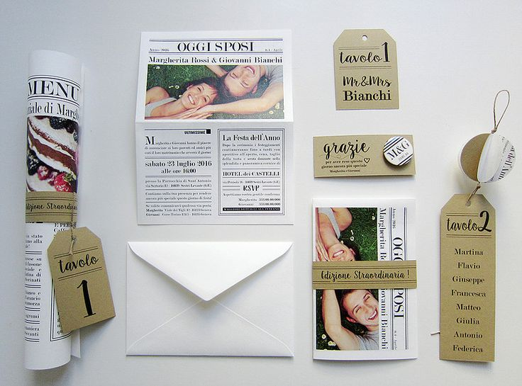 Coordinato nozze tema giornale: partecipazioni, menu giornale, segnatavolo, cartoncini tableau, pins di ringraziamento