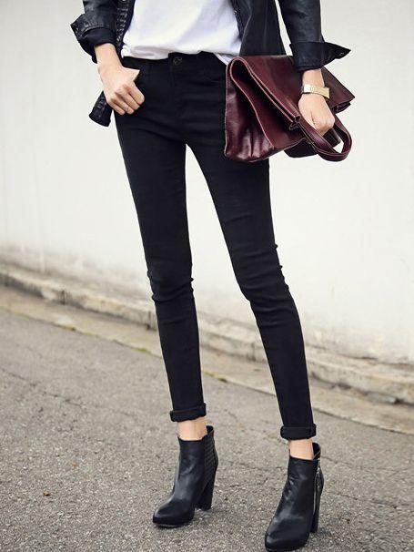 Pantalón casual bolsillos-(Sheinside)