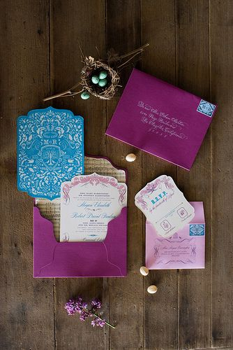 Such a rich jewel toned invitation suite - we love the pops of teal!