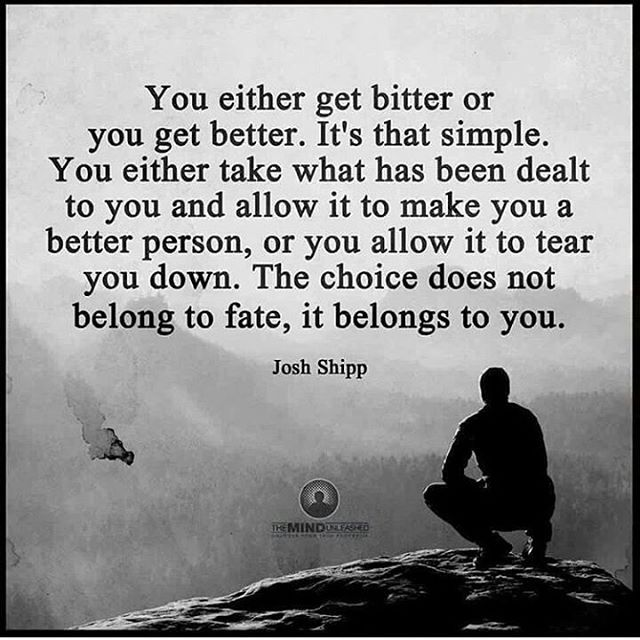 You either get bitter or you get better. It's that simple. You either take what has been dealt to you and allow it to make you a better person, or you allow it to tear you down. The choice does not belong to fate, it belongs to you. - Josh Shipp