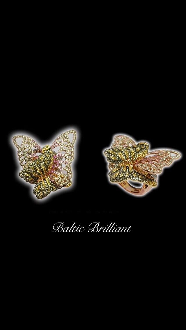 Butterfly Diamond Ring with colour stones,In 18K Rose Gold #jewelry #ring #diamonds