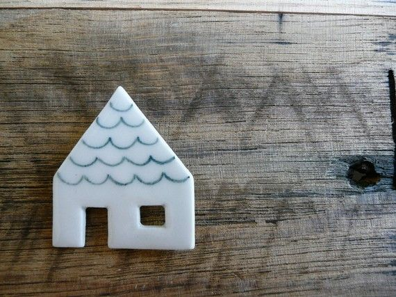 Green Roof House Ceramic Brooch by andODesign on Etsy, $32.00