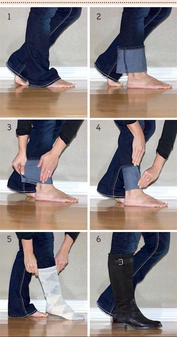 Como acomodar a barra da calça jeans dentro da bota.