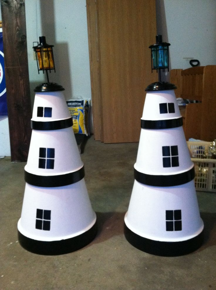 lighthouses made from clay pots
