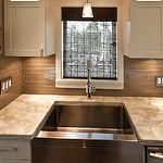 Trish Knight - kitchens - cafe au lait, walls, espresso, bamboo, roman shade, glass, pendant, gray, taupe, glass, subway tiles, backsplash, white, kitchen cabinets, marble, countertops, stainless steel, apron, sink, taupe glass tile, taupe glass tile backsplash, taupe brick tile, taupe brick tile backsplash, taupe backsplash tiles, taupe kitchen backsplash,