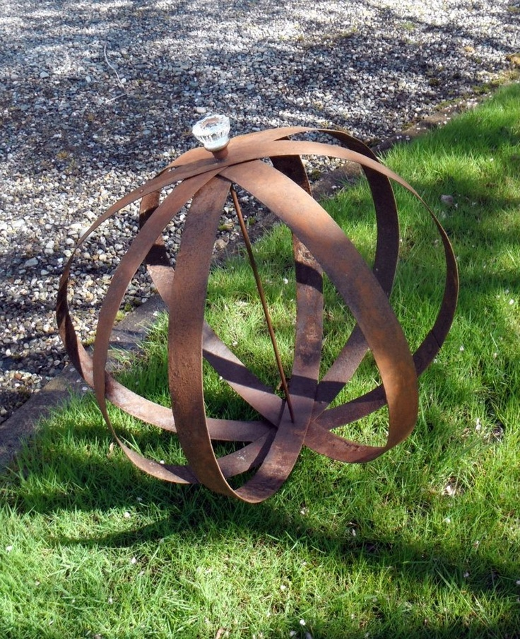 Garden orb made from barrel bands