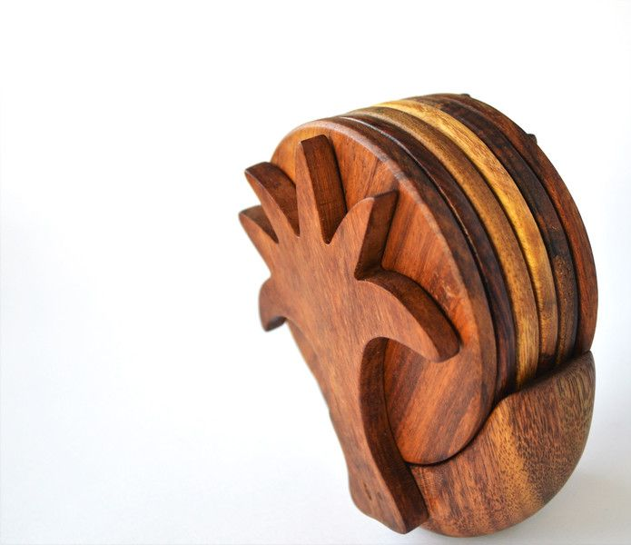 Coasters – Egyptian palm wooden coaster set Easter gift – a unique product by Omar-Handmade on DaWanda