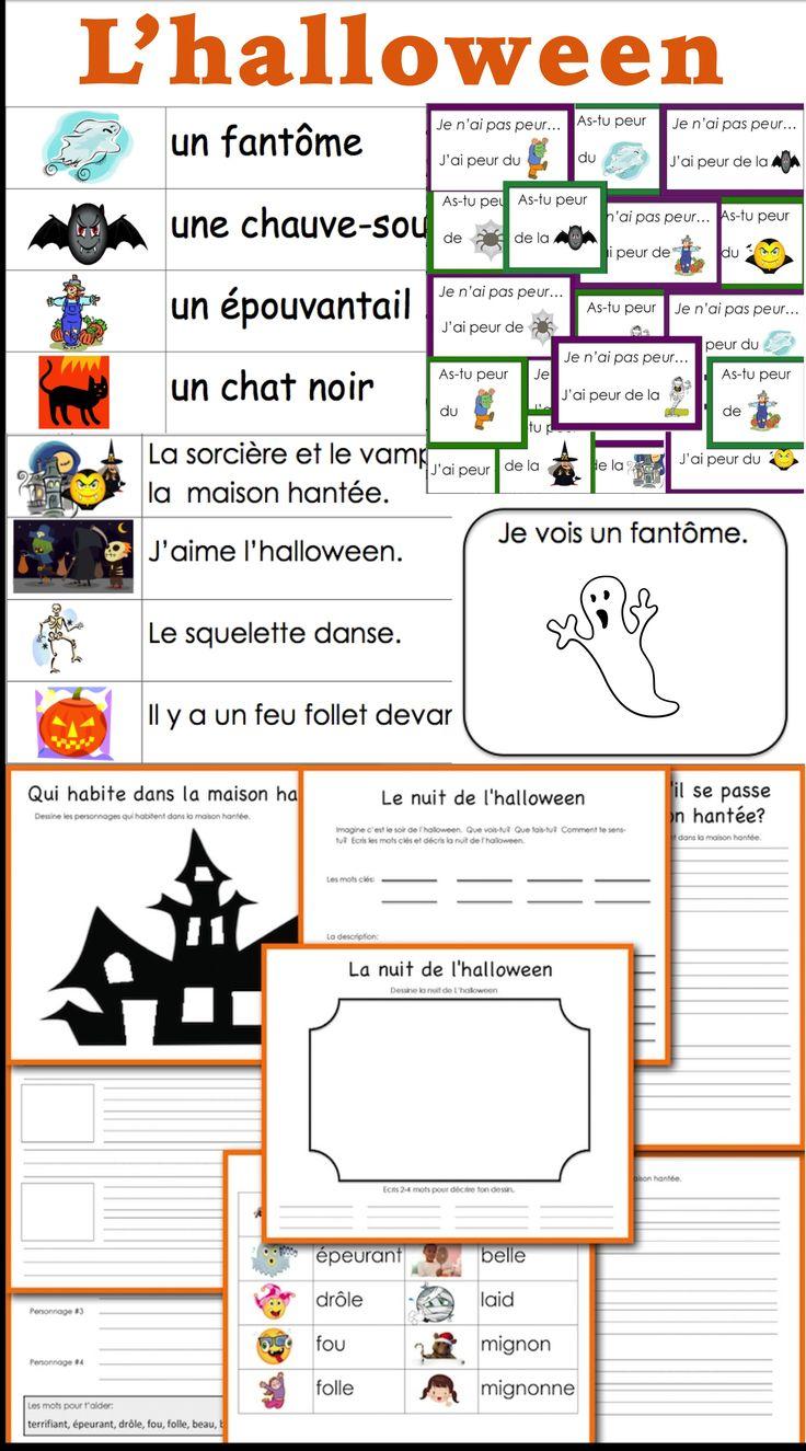 L'halloween arrive! Voici un jeu, une liste de mots illustrés, des phrases à lire et une histoire à écrire. Halloween is coming! Here is a game, an illustrated word wall, sentences to read and a story to write.