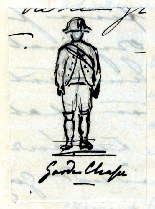 Garde Chasse (A French soldier). From her private journa,  pen and ink by Queen Victoria, dated Saturday 25th August 1855.