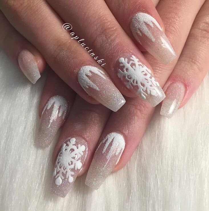 Snow Nails Christmas Winter Manicure White Design Christmas Nail Designs Winter Nails Christmas Nails Fe Burgundy Nails Christmas Nails Acrylic Trendy Nails