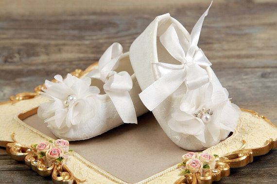 White Baby Girl Crib Shoes for Christenings, Baptisms, Weddings and other special occasions