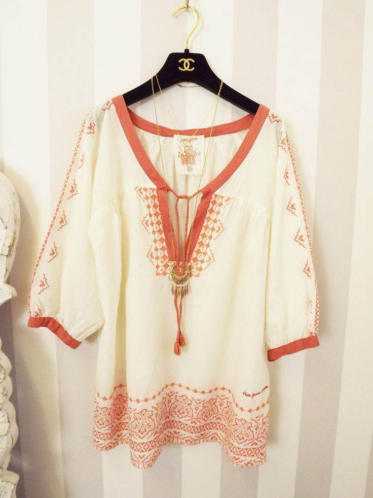 PEPE JEANS Rust Gypsy Aztec IKAT Ethnic embroidered Hippy boho Pagan Smock Top M