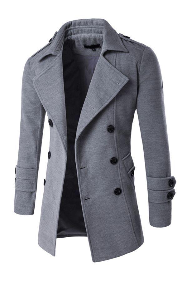 Mens Wool Blend Lapel Single Breasted Trendy Mid Long Pea Coat