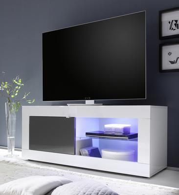 Urbino Small TV Unit INCLUDING LED Spot Light - White and Anthracite