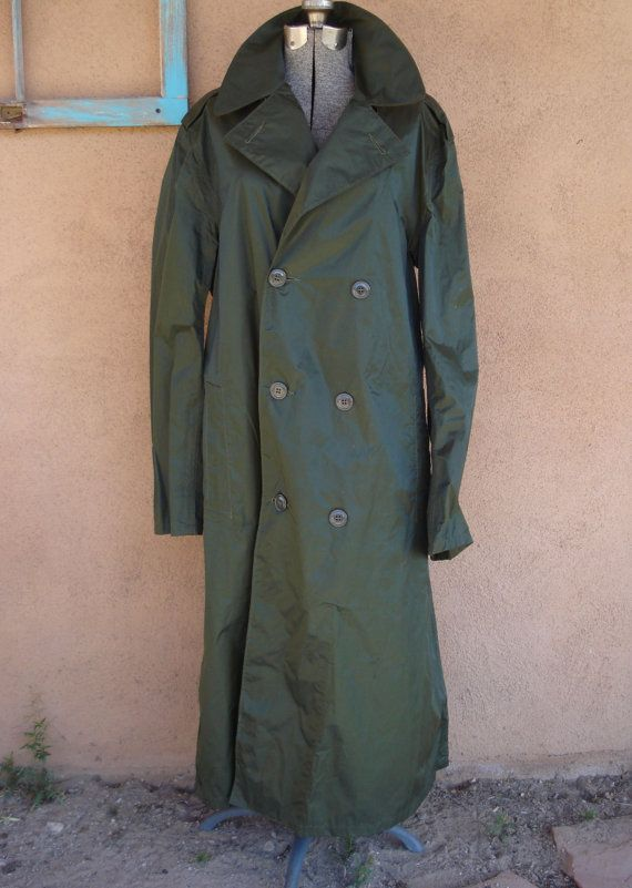 Vintage 1960s Raincoat Military Trench Coat Mens 40