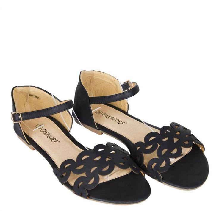Sandale Dama Circles Black  -Sandale dama cu talpa joasa  -Detaliu catarama lateral exterior  -Foarte comode