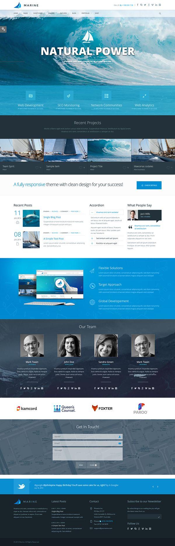Marine - Retina Responsive Multi-Purpose Theme by CreAtive Web Themes, via Behance