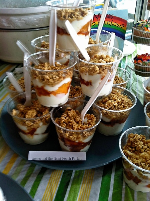 James and the Giant Peach parfaits -- for the children's book themed baby shower.