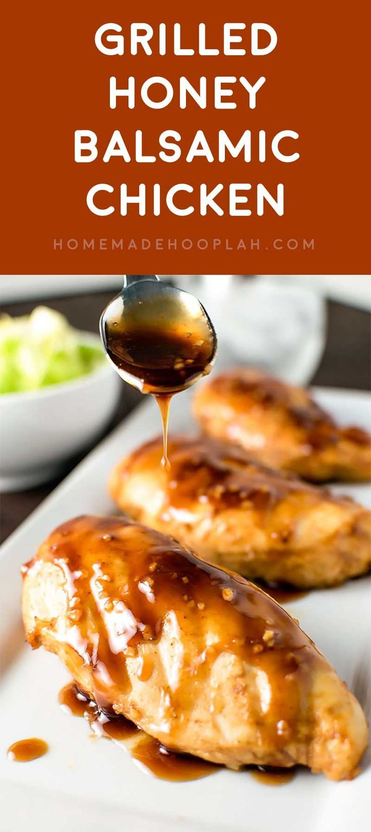 Grilled Honey Balsamic Chicken! A sweet honey balsamic marinade that makes chicken unbelievably tender and juicy. Marinates in half the time for twice the flavor! | HomemadeHooplah.com (Balsamic Chicken)