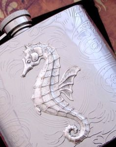 Seahorse Flask Stainless Steel Silver Plated Metal Nautical Steampunk Big Holds 6 oz - Vintage Style Gothic Victorian Scroll Pattern on Etsy, $65.00