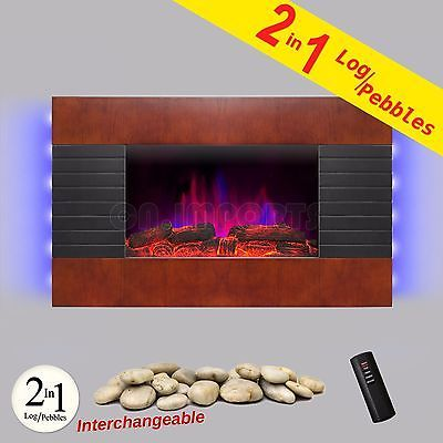 36 Indoor Wall Tempered Glass Electric Fireplace Heater Backlit LED Pebble Log