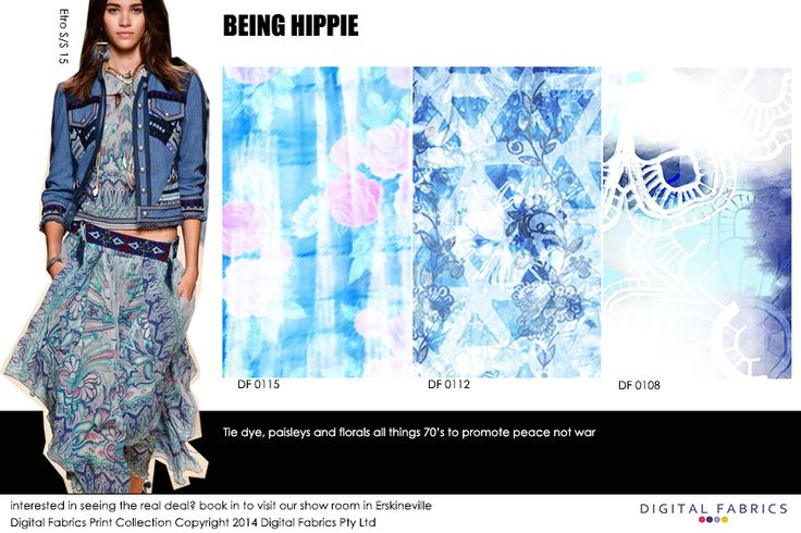 Designs from our Digital Fabrics print collection #fabric #blue #print #design  #pink #fabric #inspiration #printcollection #fashionprinting #digitalfabrics #tiedye #hippie