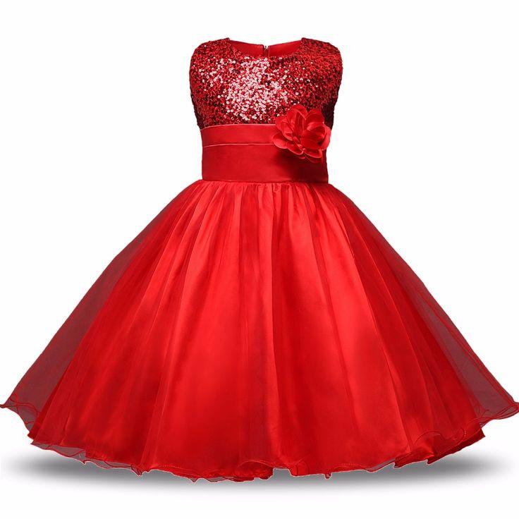 Rode Bloem Prinses Trouwjurk Meisje Sequin Tulle Jurken Kinderkleding Baljurk Meisjes Kleding Kids Feestjurken Zomer