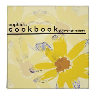 Personalized Floral Art Recipe Cookbook 3 Ring Binders