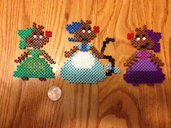 Three girl mice from Cinderella perler beads by Thingamabobcrafts I perler