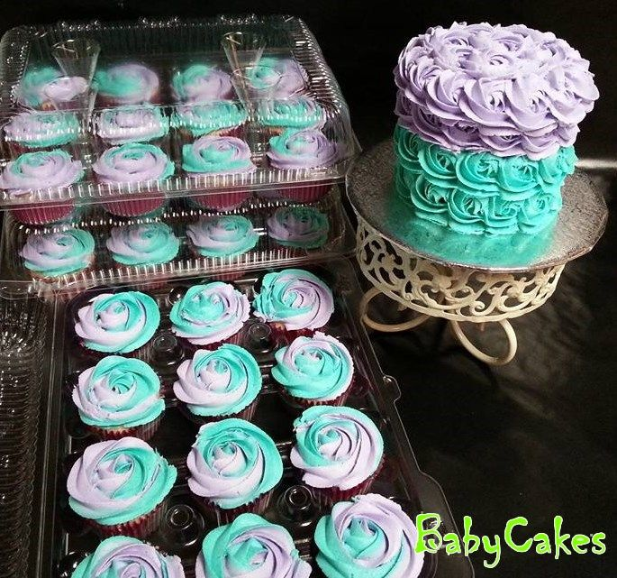 Teal & Purple Rosette Smash Cake with matching cupcakes