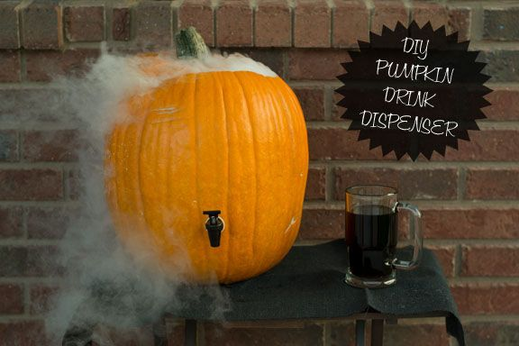 Diy pumpkin drink dispenser awesome idea for halloween Pumpkin carving beer