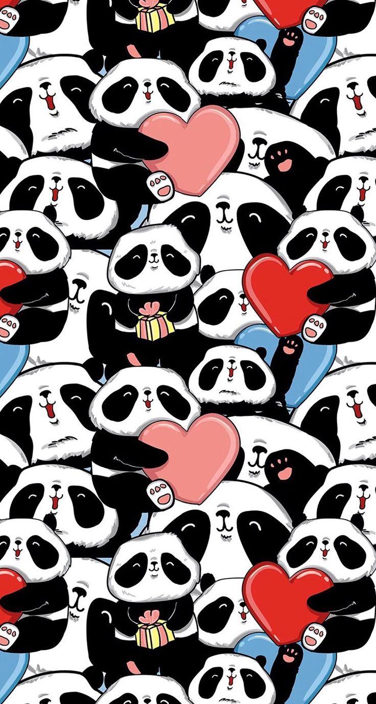 #pink #wallpaper #doodle #pattern #sweet #girly #cute #background #iphone #panda #pandas #hearts #love