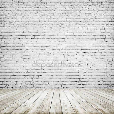 Downloaden - Kamer interieur vintage met witte bakstenen muur en houten vloer achtergrond — Stockbeeld #126182988