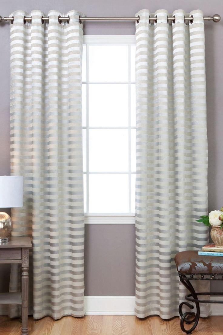 Satin Stripe Grommet Blackout Window Curtain Pair   Set Of 2 Panels   Beige