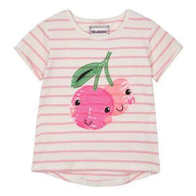 bluezoo Girl's pink sequin cherries t-shirt- at Debenhams.com