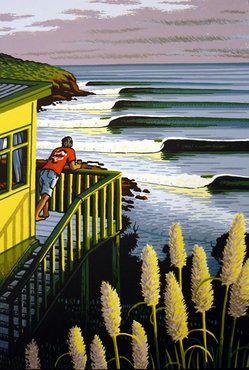 Rising Swell at Raglan by Tony Ogle