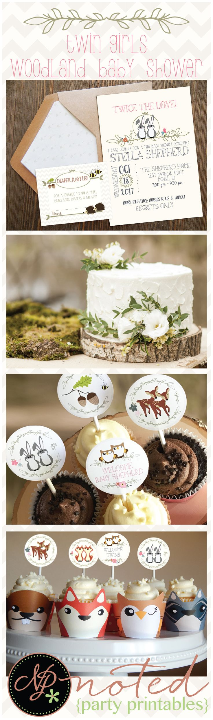 Our TWIN GIRLS Woodland Animals Baby Shower Decorations HERE!! These adorable woodland animal decorations include all your favorite baby woodland animals designed for twin girls! This Woodland TWIN GIRLS theme baby shower is easy to print at home or at your favorite local print shop + assemble. Over 20 pages of adorable woodland forest animals.