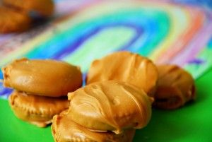 Pot of Gold Cookies (Peanut Butter Ritz Crackers dipped in melted Butterscotch Chips)