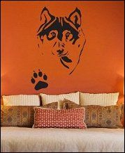 Wolf Husky with Pawprint - Wall Decal Sticker-wolf-theme-bedrooms