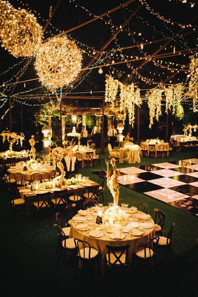 "Why We Love It: Suspended lights add glitz and glamour to this outdoor reception space!Why You Love It: ""Reminds me of the Oscars!"" —Diana E.  ""Wow!"" —Jen G.  ""Beautiful!"" —Helen M.Photo Credit: Docuvitae"
