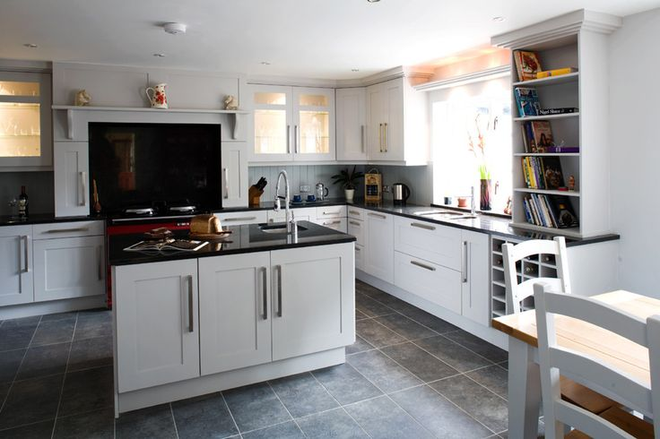Bright frieling french press in Kitchen Transitional with Grey Flooring next to Slate Floor alongside Rectangular Floor Tile and Tile Floor White Cabinets